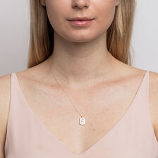 """E"""" Initial Rectangular Pendant With Diamonds In 10kt Yellow Gold"""