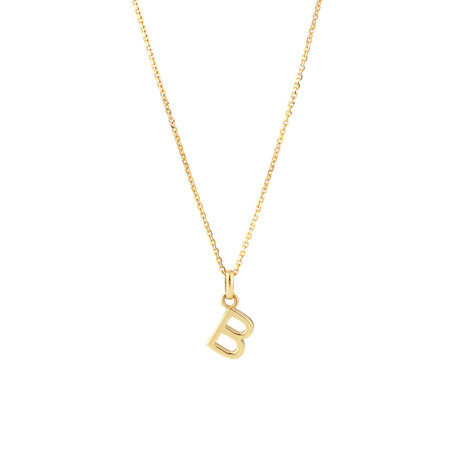 """""""B"""" Initial Pendant with Chain in 10kt Yellow Gold"""