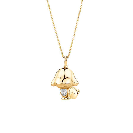Year of the Dog Pendant with Diamonds in 10kt Yellow Gold