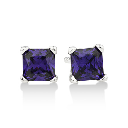 Square Stud Earrings with Purple Cubic Zirconia in Sterling Silver