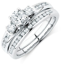 Bridal Set with 1 Carat TW of Diamonds in 10kt White Gold