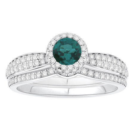 Bridal Set with Emerald & 0.52 Carat TW of Diamonds in 14kt White Gold
