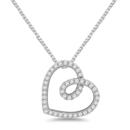Heart Pendant with 0.10 Carat TW of Diamonds in Sterling Silver