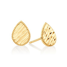 Patterned Pear Studs in 10kt Yellow Gold