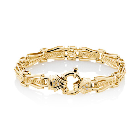 "19cm (7.5"") Bracelet with Diamonds in 10kt Yellow Gold"
