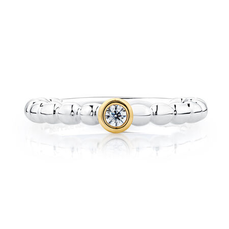 Cubic Zirconia, Sterling Silver & 10kt Yellow Gold Stacker Ring