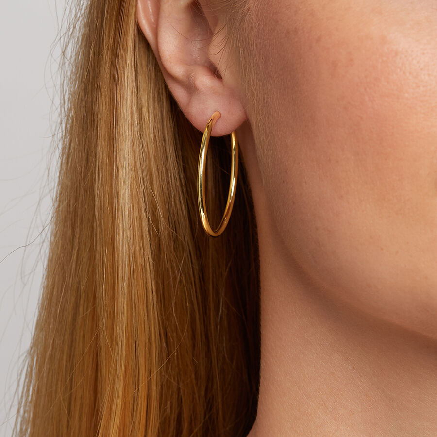 35mm Flexible Clasp Hoop Earrings in 10kt Yellow Gold