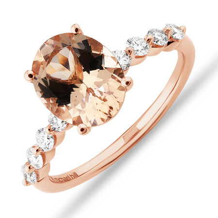 Ring with Morganite and 0.33 Carat TW of Diamonds in 10kt Rose Gold