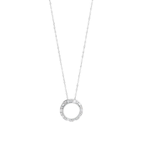 Circle Pendant with 0.20 Carat TW of Diamonds in 10kt White Gold