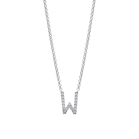 """""""W"""" Initial necklace with 0.10 Carat TW of Diamonds in 10kt White Gold"""