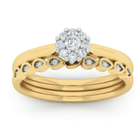 Bridal Set with 1/4 Carat TW of Diamonds in 10kt Yellow Gold