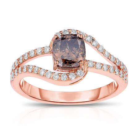 Ring with 1.12 Carat TW of Brown & White Diamonds in 14ct Rose Gold
