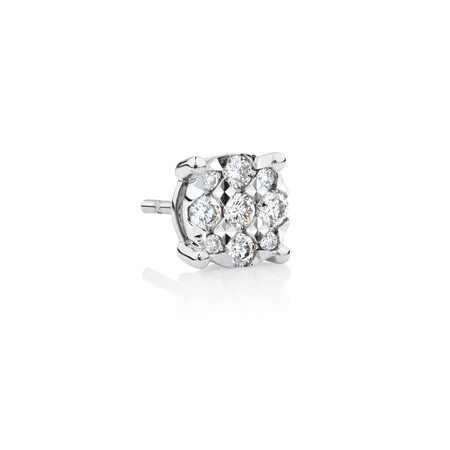 Men's Stud Earring with 0.12 Carat TW of Diamonds in 10kt White Gold