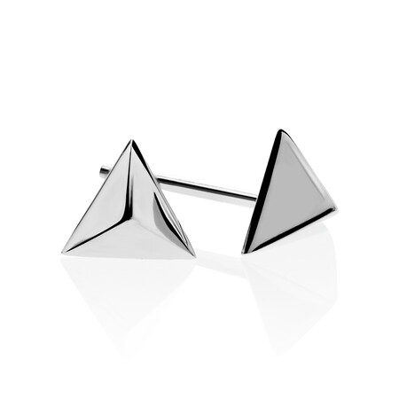 Pyramid Stud Earrings in 10kt White Gold