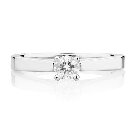 Certified Solitaire Engagement Ring with a 0.29 Carat Diamond in 14kt White Gold