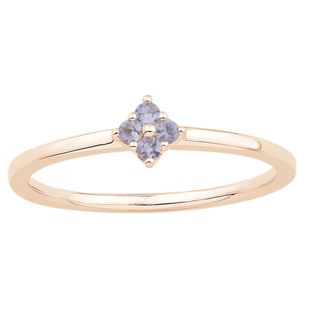 Stacker Ring with Created Pink Sapphire in 10kt Rose Gold