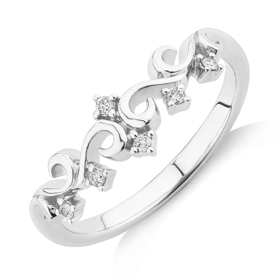 Crown Ring with Diamonds in Sterling Silver