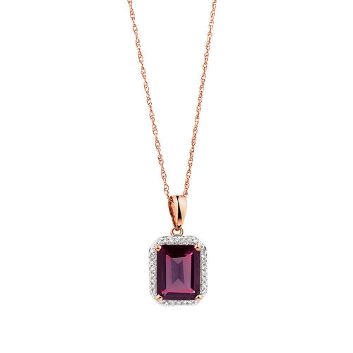 Pendant with Rhodolite Garnet & Diamonds in 10kt Rose Gold
