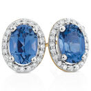 Stud Earrings with Created Sapphire & 1/6 Carat TW of Diamonds in 10kt Yellow & White Gold