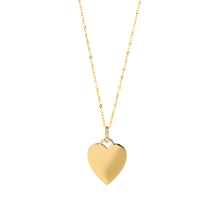 Heart Compass Pendant with Diamonds in 10kt Yellow Gold