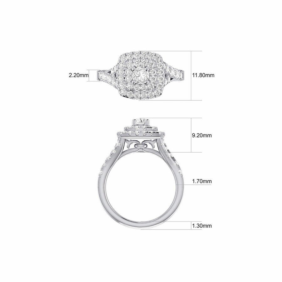 Bridal Set with 1 3/4 Carat TW of Diamonds in 14kt White Gold