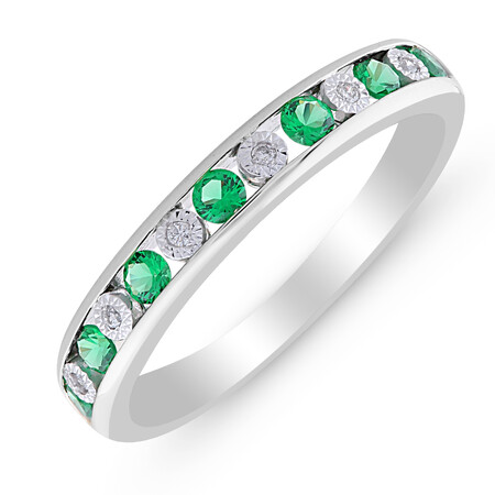 Ring with Created Emerald & Diamond in Sterling Silver