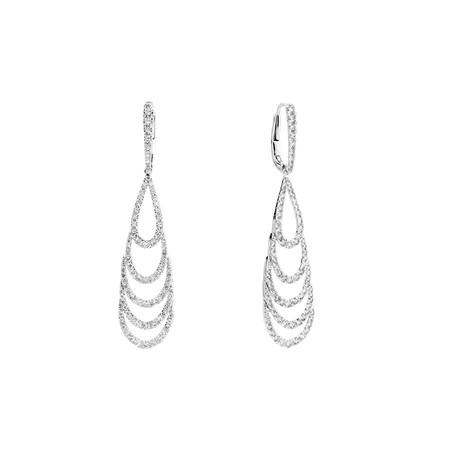 Teardrop Earrings with 2 Carat TW of Diamonds in 10kt White Gold