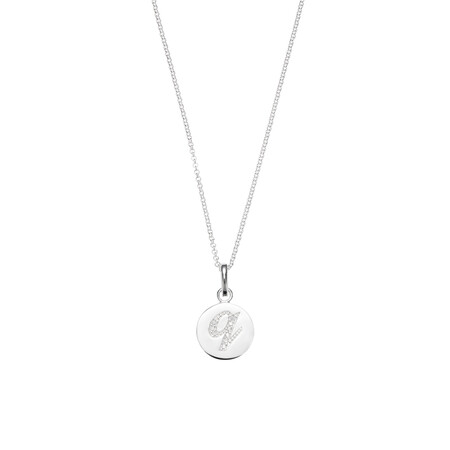 Q Initial Pendant with Cubic Zirconia in Sterling Silver