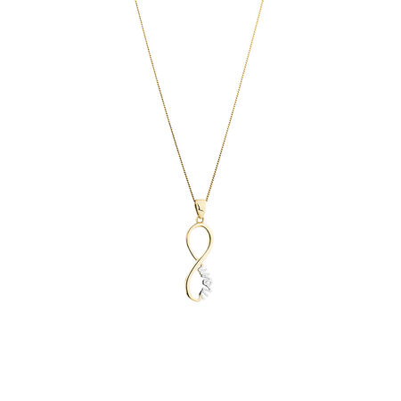 Mom Pendant in 10kt Yellow & White Gold