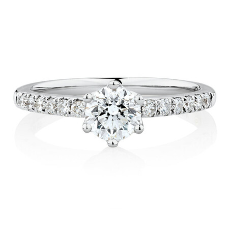 Whitefire Solitaire Engagement Ring With 0.88 Carat TW of Diamonds in 18kt White & 22ct Yellow Gold
