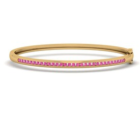 Bangle with Created Ruby in 10kt Yellow Gold