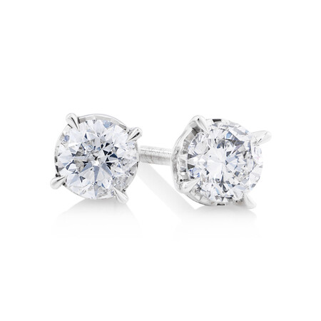 Stud Earrings with 0.60 Carat TW of Diamonds in 10kt White Gold