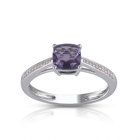 Ring with Amethyst & Diamond in 10kt White Gold