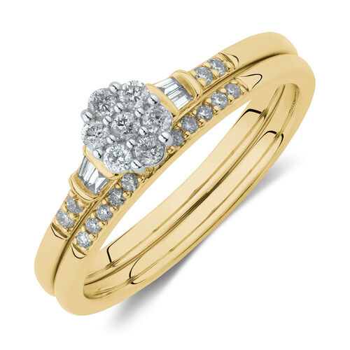 Evermore Bridal Set with 1/4 Carat TW of Diamonds in 10kt Yellow & White Gold