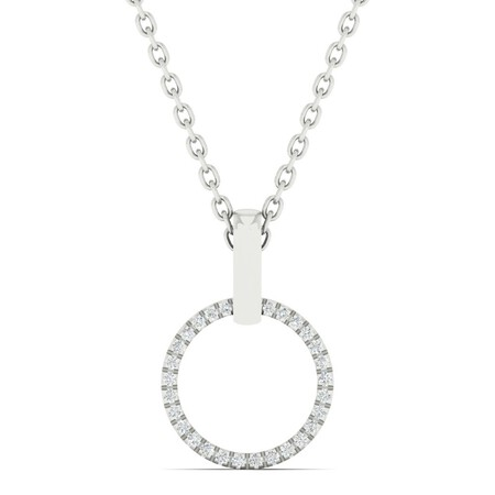 Circle Pendant with Diamonds in 10kt White Gold