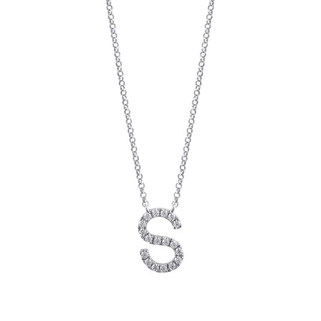 """""""S"""" Initial Necklace with 0.10 Carat TW of Diamonds in 10kt White Gold"""