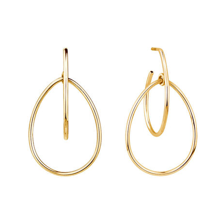 Double Pear Hoop Earrings In 10kt Yellow Gold