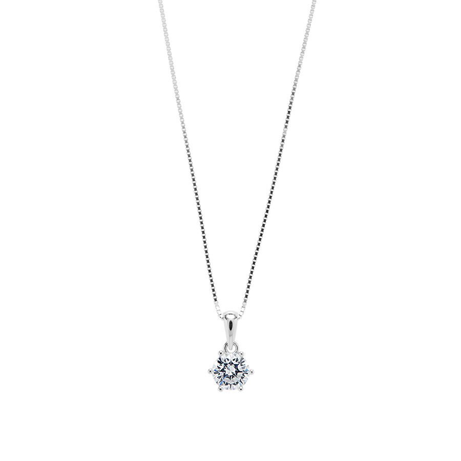 Pendant with White Cubic Zirconia in Sterling Silver