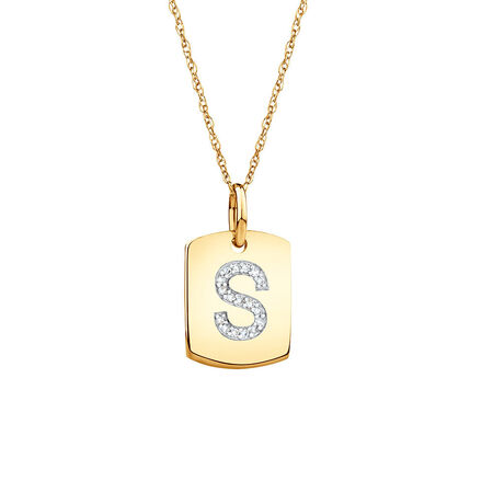 """S"""" Initial Rectangular Pendant With Diamonds In 10kt Yellow Gold"""