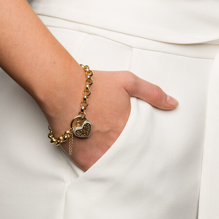 """19cm (7.5"""") Rolo Bracelet with 0.30 Carat TW of Diamonds in 10kt Yellow Gold"""