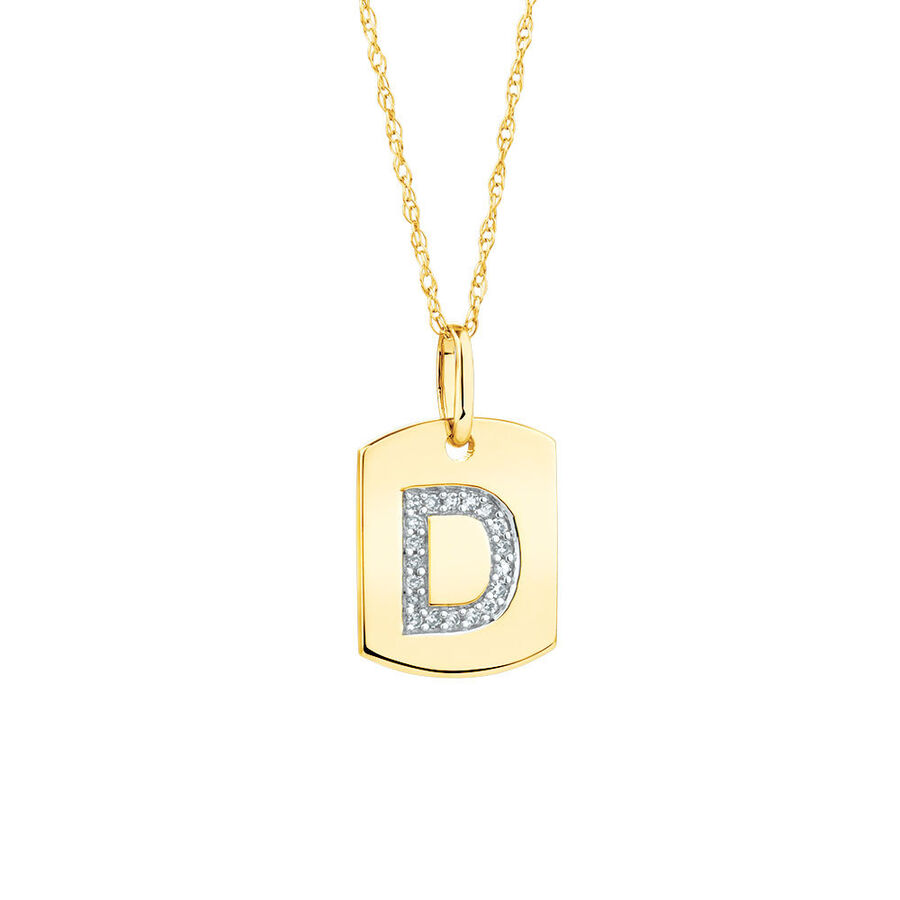 """""""D"""" Initial Rectangular Pendant With Diamonds In 10ct Yellow Gold"""