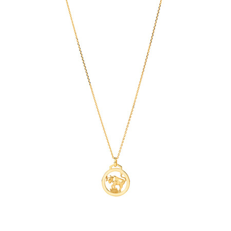 Taurus Zodiac Pendant with Chain in 10kt Yellow Gold
