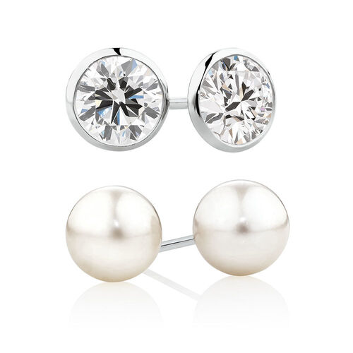Stud Earrings Set with Cultured Freshwater Pearl & Cubic Zirconia in Sterling Silver