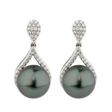 Online Exclusive - Earrings with 0.54 Carat TW of Diamonds & South Sea Pearl in 10kt White Gold