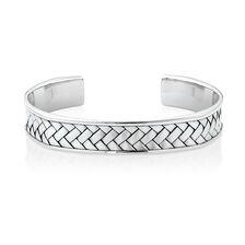 Men's Weave Pattern Cuff Bracelet in 925 Sterling Silver