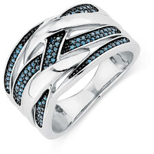 City Lights Ring with 0.20 Carat TW of White &  Enhanced Blue Diamonds in Sterling Silver