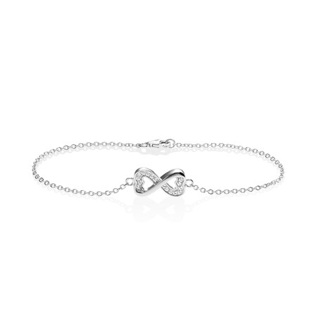Infinity Bracelet with White Cubic Zirconia in Sterling Silver