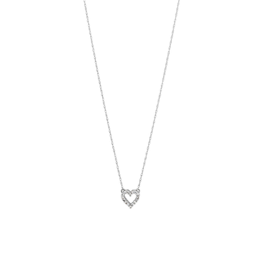 Heart Pendant with Diamonds in 10kt White Gold