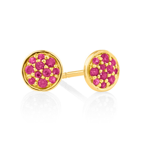 Pave Stud Earrings with Created Ruby in 10kt Yellow Gold
