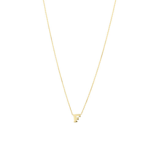 """F"" Initial Necklace in 10kt Yellow Gold"